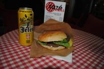 Pljeskavica (like a hamburger) and a local beer